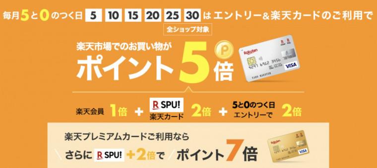 楽天市場5と0のつく日キャンペーン